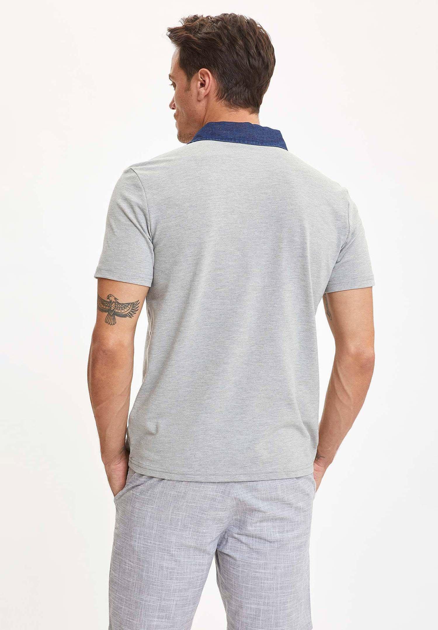 DeFacto Polo shirt - grey zyK96