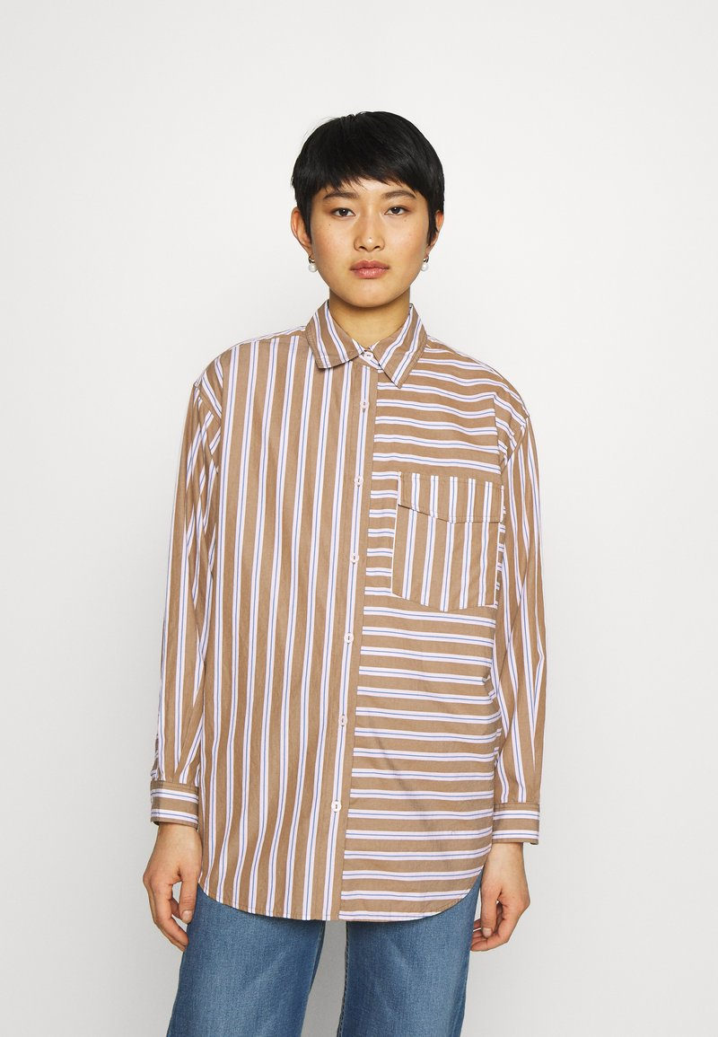 Marc O'Polo DENIM - BLOUSE LONGSLEEVE FLAP POCKET - Button-down blouse - multi/milky coffee