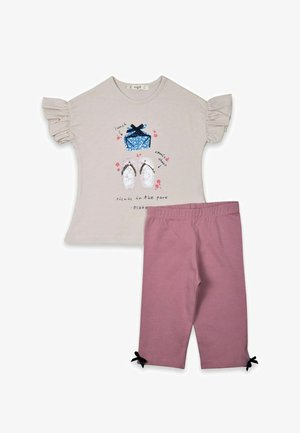 T-SHIRT AND LEGGINGS SET  - Leggings - beige