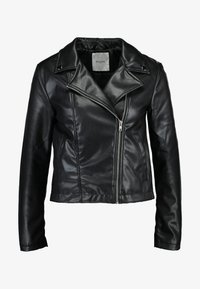 PCRIONE BIKER ZIP JACKET - Faux leather jacket - black