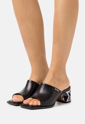 BLOCK SQUARE TOE MULE - Pantofle na podpatku - black