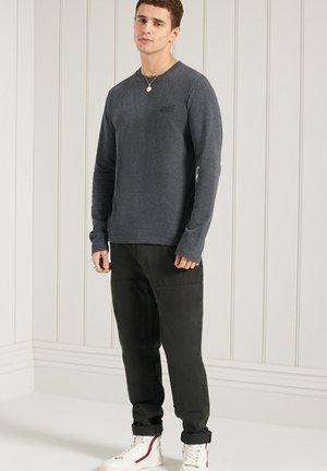 Long sleeved top - navy marl dark grey