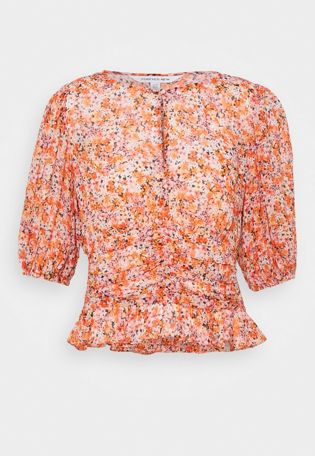 HARPER DITSY PUFF SLEEVE BLOUSE - Bluzka - orange