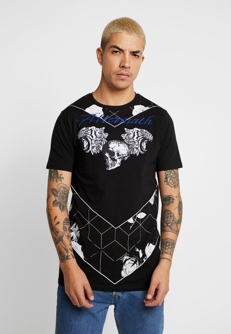 AFTERMATH - TIGER SKULL PRINT - Print T-shirt - black