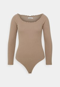 Abercrombie & Fitch - RUFFLE BODYSUIT - Long sleeved top - light brown - 4