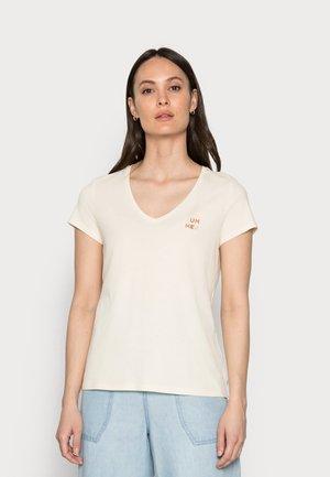 Print T-shirt - soft creme beige