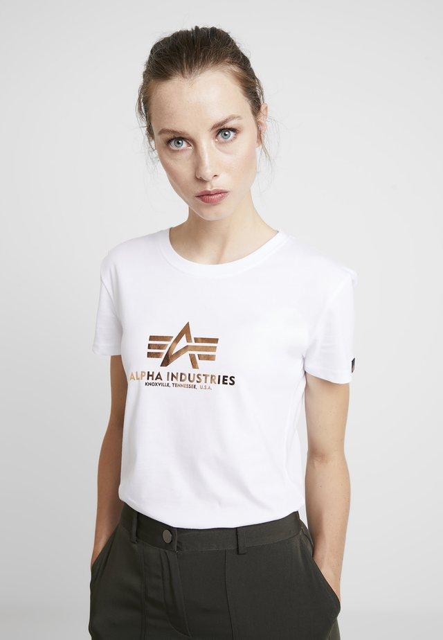 NEW BASIC - Print T-shirt - white/metalgold
