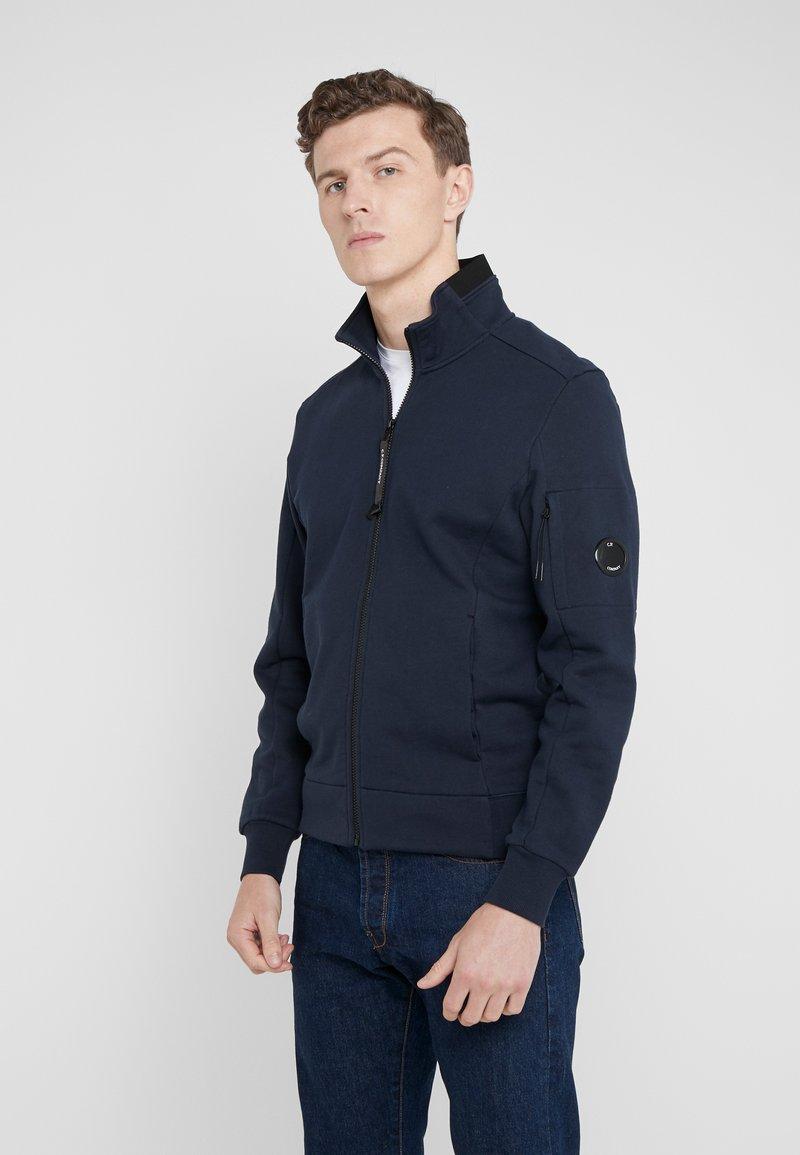 C.P. Company - FUNNEL OPEN DIAGONAL RAISED  - Zip-up hoodie - navy