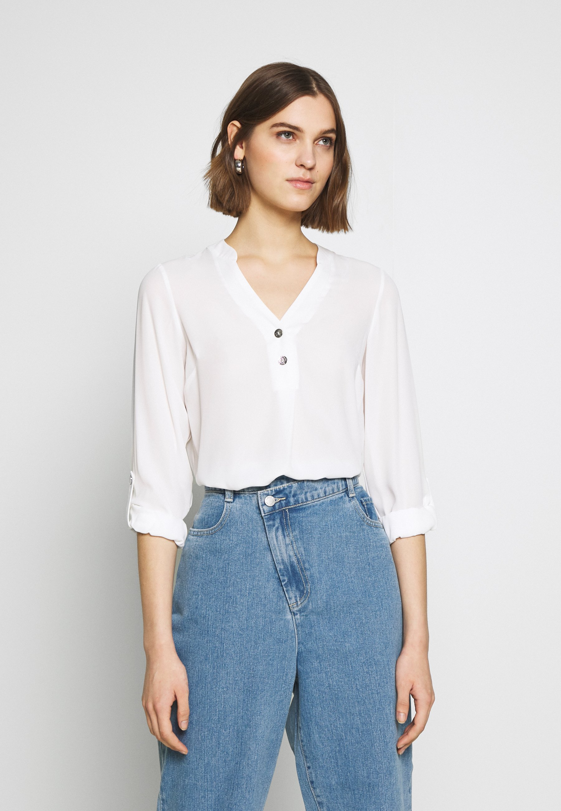 Women DOUBLE BUTTON COLLARLESS ROLL SLEEVE - Blouse