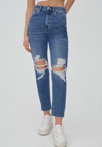 PULL&BEAR - MOM - Relaxed fit jeans - mottled blue - 7