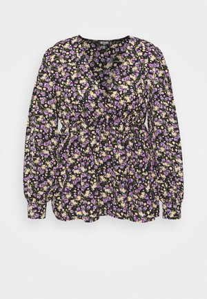 FLORAL RUCHED DETAIL BLOUSE - Blůza - black