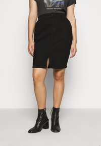 Dorothy Perkins Curve - CURVEBLACK MIDI SKIRT - Pencil skirt - black - 0