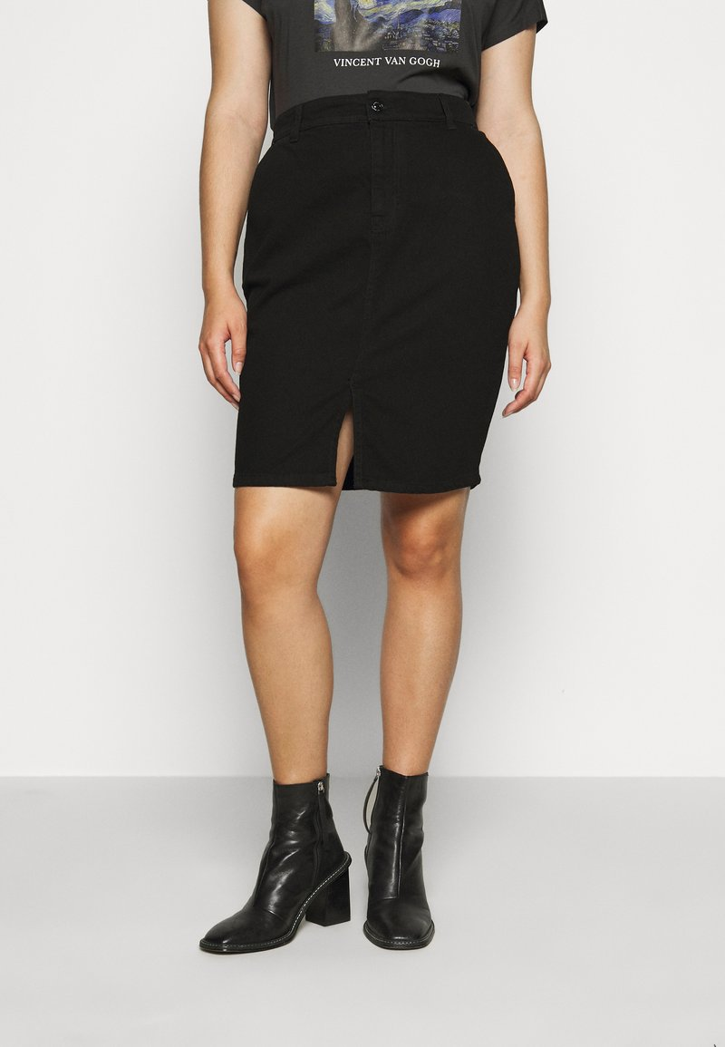 Dorothy Perkins Curve - CURVEBLACK MIDI SKIRT - Pencil skirt - black