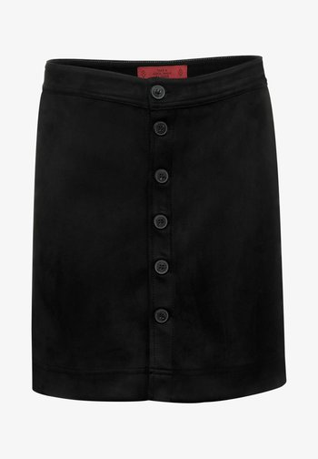 MIT KNOPFLEISTE - Mini skirt - schwarz