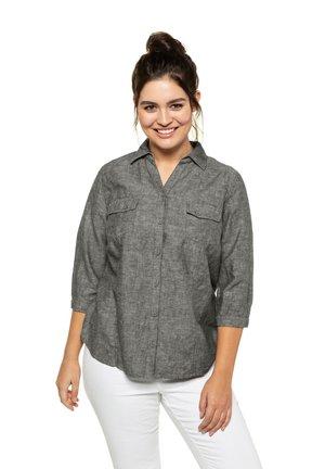 Button-down blouse - medium grey melange