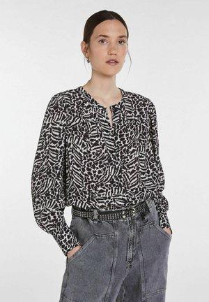 Button-down blouse - black offwhite