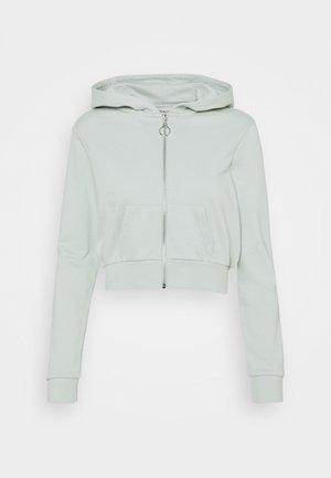 CROPPED SLIM FIT HOODIE  - Zip-up hoodie - green