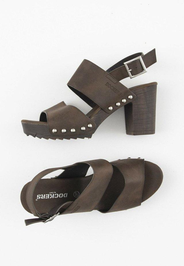Sandalen met hoge hak - dark brown