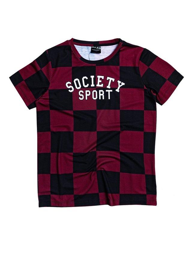 RED CHECK - Print T-shirt - black