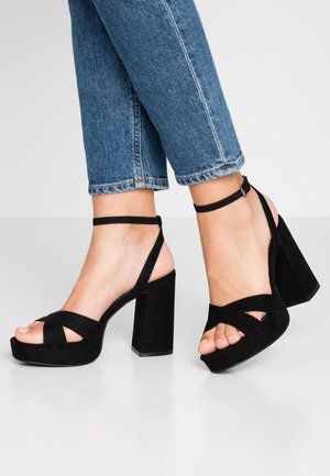 ONLAERIN CHECK - High heeled sandals - black