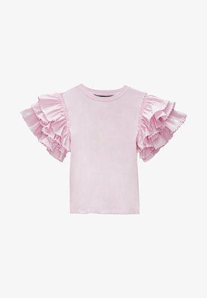 MIT VOLANTÄRMELN  - Print T-shirt - pink