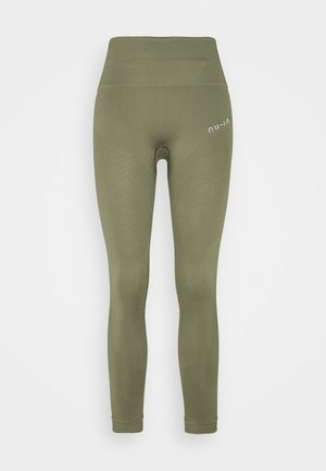 SEAMLESS HIGH WAIST DETAIL LEGGINGS - Trikoot - green