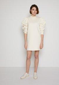 TOM TAILOR DENIM - PUFF SLEEVE DRESS - Day dress - soft creme beige - 4