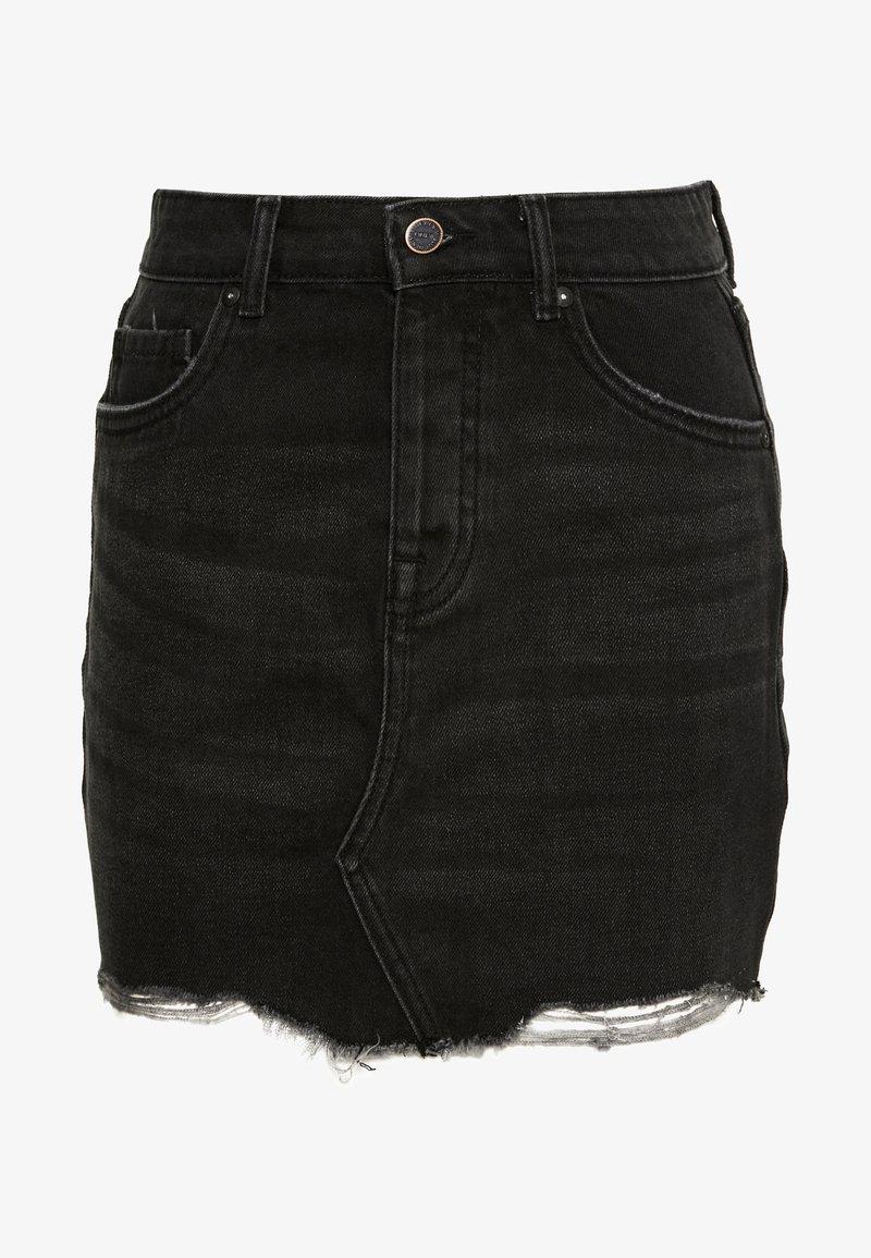 ONLY Petite - ONLSKY SKIRT RAW EDGE - Spódnica jeansowa - black
