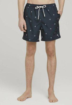 Swimming shorts - navy white summer palm print