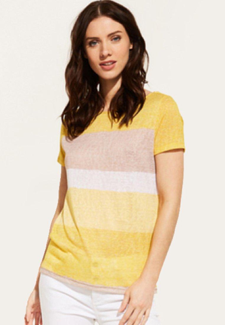 comma casual identity - MIT STREIFENMUSTER - Print T-shirt - yellow