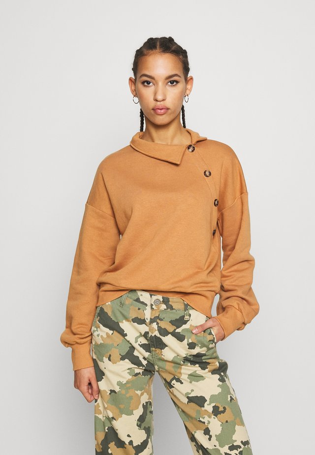 NMERIN HIGH NECK BUTTON - Sweatshirt - brown sugar