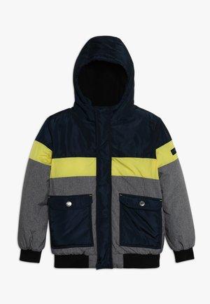 Zimní bunda - grey melange/dark blue