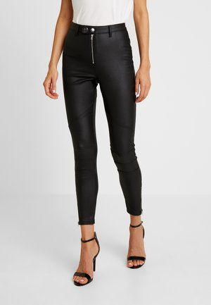 VICE DOUBLE POPPER COATED BIKER - Jeans Skinny Fit - black