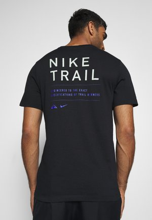 DRY TEE TRAIL - T-shirt con stampa - black/pistachio frost