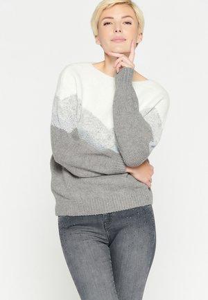 STRIPED - Pullover - med grey mel