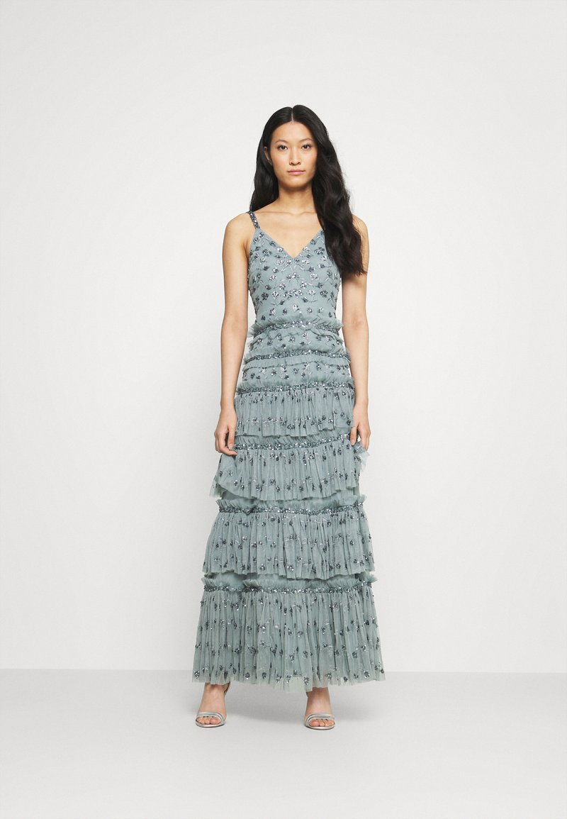 Maya Deluxe - ALL OVER EMBELLISHED MAXI WITH TIERS - Occasion wear - grey