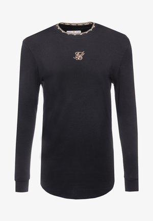 LONG SLEEVE CHAIN TAPE COLLAR GYM TEE - Long sleeved top - black