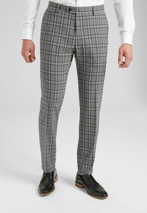 GREY SKINNY FIT CHECK SUIT TROUSERS - Suit trousers - grey