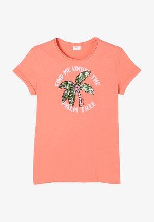 MIT PAILLETTEN-MOTIV - Print T-shirt - coral