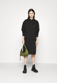 NU-IN - HOODIE MIDI DRESS - Day dress - black - 1