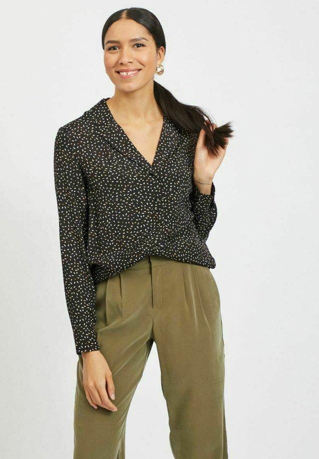 MIT V-AUSSCHNITT GEMUSTERT - Camicia - black