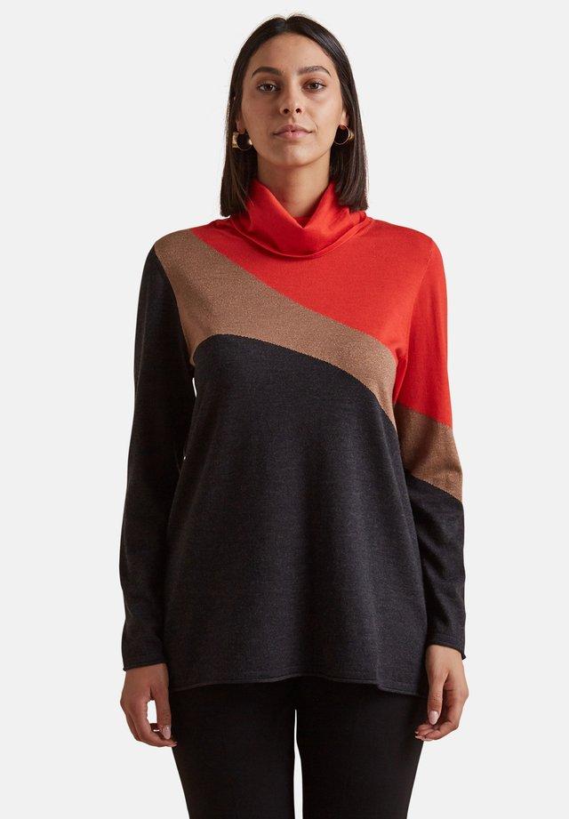 MIT HOHEM KRAGEN UND INTARSIEN - Sweatshirt - arancione