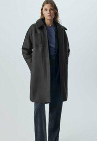 Massimo Dutti - Faux leather jacket - dark grey - 0