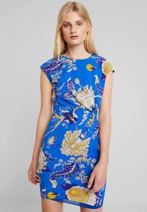 EXOTIC FLORAL BODYCON DRESS - Cocktail dress / Party dress - blue/multi