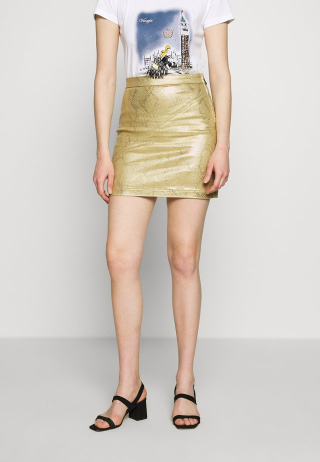 GONNA SKIRT - Minigonna - gold snake
