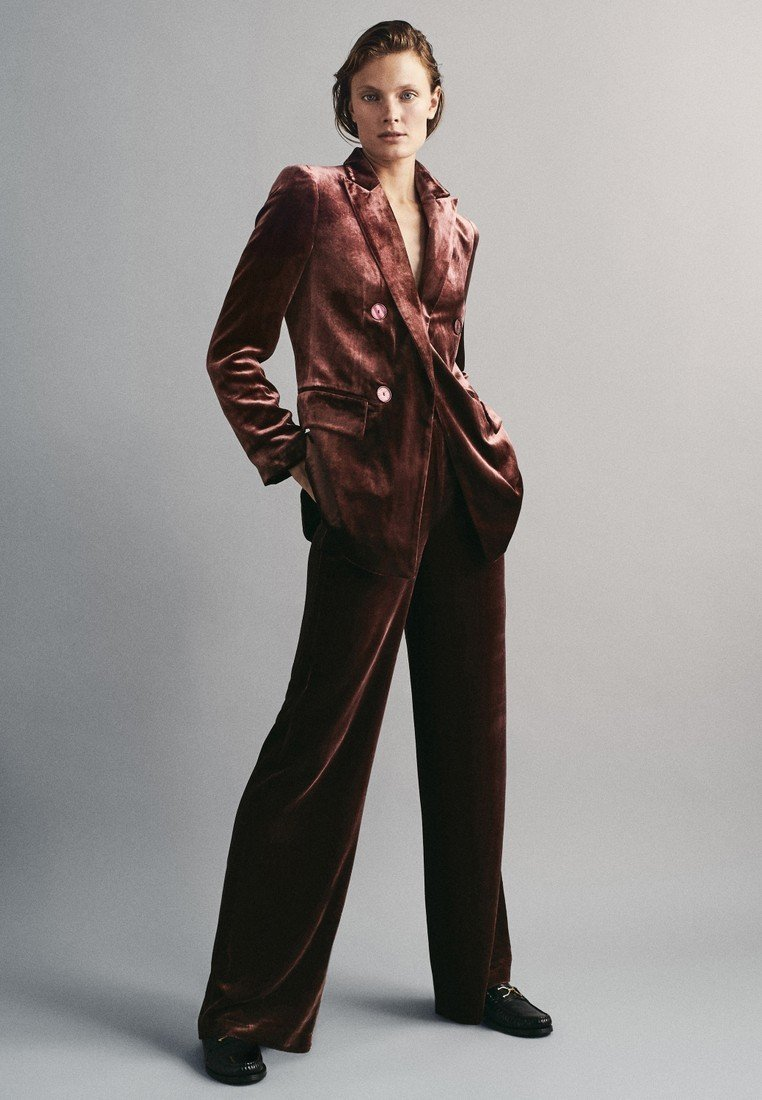 Massimo Dutti - GERADE GESCHNITTENE  - Pantalon classique - bordeaux