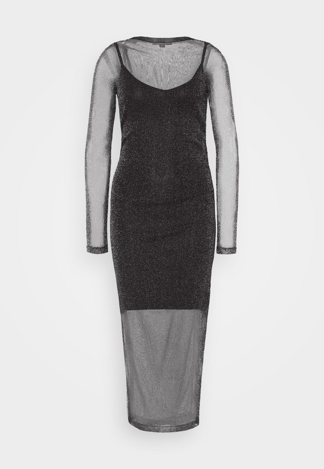 FRANCESCO METALLIC DRESS 2-IN-1 - Shift dress - black