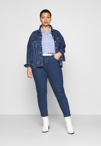 MY TRUE ME TOM TAILOR - SHORT DROP SLEEVE  - Button-down blouse - vertical blue - 1