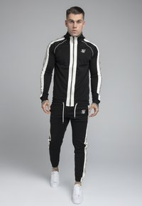 SIKSILK - PREMIUM TAPE FUNNEL ZIP THROUGH HOODIE - Felpa aperta - jet black/off white - 1