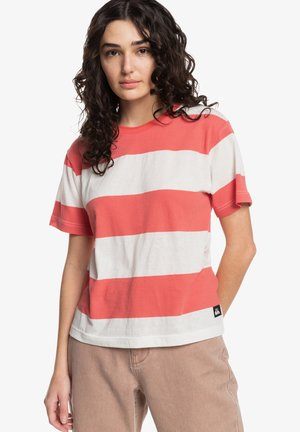 Print T-shirt - red coral bold stripes